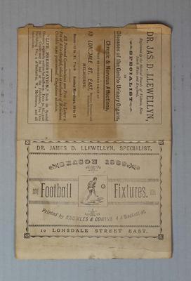 Australian football fixture, 1889