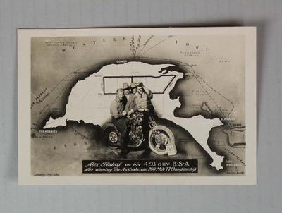 Commemorative postcard, Australasian 200 Mile TT Championship, Phillip Island, 1928