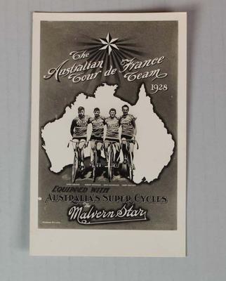 Commemorative postcard of the Malvern Star Australian Tour De France cycling team, Tour De France, 1928