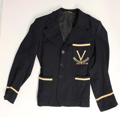 Victorian women's basketball team blazer worn by Annette D'Ombrain, 1955 -58