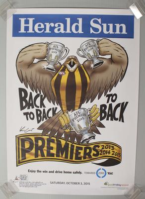 'Herald Sun' AFL Hawthorn Football Club Premiers poster, caricature by Mark Knight, 2015