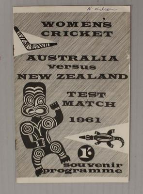 Autographed programme, Australia v New Zealand Women's Test Match, 1961