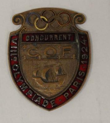 Competitor's badge awarded to Richmond 'Dick' Eve, VIII Olympic Games, Paris, 1924