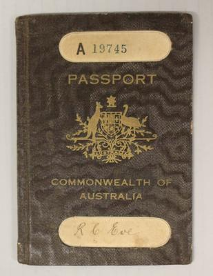 Australian passport issued to Richmond 'Dick' Eve, 1924