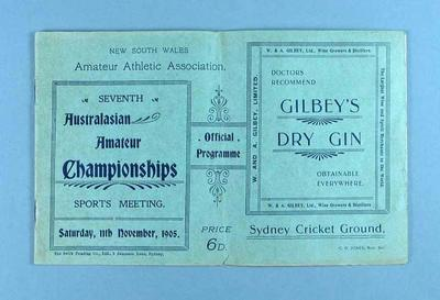 Programme for NSWAAA Australasian Championship Sports event, 11 Nov 1905