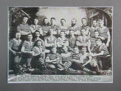 Copy of photograph of the South Melbourne Football Club team, 1882