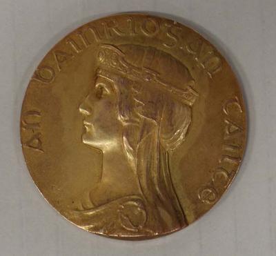 Gold medal awarded to Richmond 'Dick' Eve, Tailteann Games, Dublin, 1924