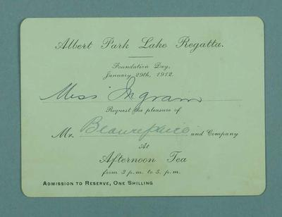 Invitation to attend afternoon tea at Albert Park Lake Regatta, 29 January 1912