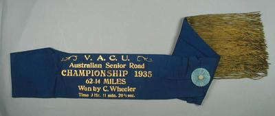 Sash, VACU Australian Senior Road Championship 1935