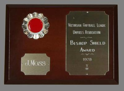 Bishop Shield Award presented to John Moss by the Victorian Football League Umpires Association in 1978