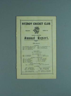 Annual report, Fitzroy Cricket Club - season 1950/51