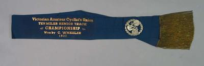 Sash, VACU 10 Miles Senior Track Championship 1937