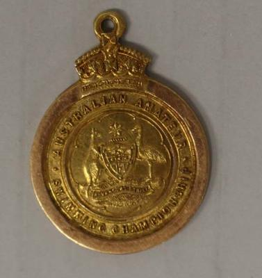 Gold medal awarded to Richmond 'Dick' Eve, men's plain high diving, Australian Amateur Swimming Association (AASA) Swimming Championships, 1921