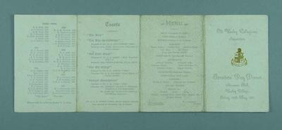 Menu for Founders' Day Dinner at Wesley College, 26 May 1911
