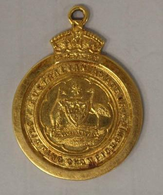 Gold medal awarded to Richmond 'Dick' Eve, men's high dive, Australian Amateur Swimming Association (AASA) Swimming Championships, 1923; Trophies and awards; 2015.2.14