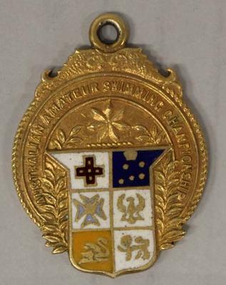 Gold medal awarded to Richmond 'Dick' Eve, men's high dive, Australian Amateur Swimming Association (AASA) Swimming Championships, 1925; Trophies and awards; 2015.2.16