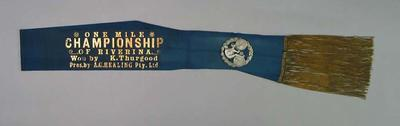 Sash for Riverina One Mile Championship, won by Keith Thurgood c1930s