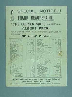 Advertisement for The Corner Shop grocery in Albert Park, featuring an endorsement by Frank Beaurepaire