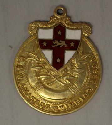 Gold medal awarded to Richmond 'Dick' Eve, men's high dive, New South Wales Amateur Swimming Association (NSWASA) Swimming Championships, 1924