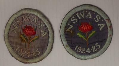 Two New South Wales Amateur Swimming Association (NSWASA) pocket patches worn by Richmond 'Dick' Eve, 1924/25