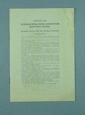 Proposed FINA rules and guidelines for diving contests, c1925