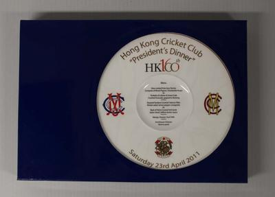Commemorative plate, President's Dinner, Hong Kong Cricket Club 160th Anniversary Celebrations, 2011