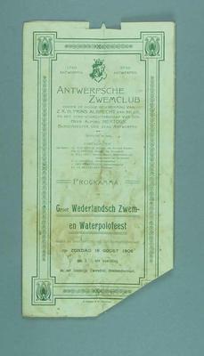 Programme for the Antwerp Swimming Club Groot Wederlandsch Zwemen Waterpolofeest, 16 August 1908