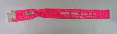Sash for MSCC 1 Mile Senior Wheel Race 1933, won by Keith Thurgood