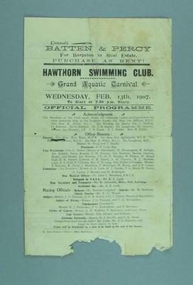 Programme for the Hawthorn Swimming Club Grand Aquatic Carnival, 13 February 1907