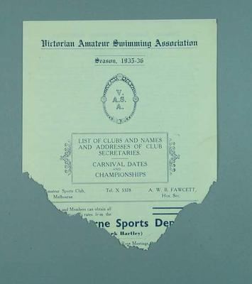 List of swimming vlubs affiliated with the Victorian Amateur Swimming Association, for season 1935-36