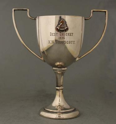 Melbourne High School Best Cricket trophy awarded to Keith 'Bluey' Truscott, 1934; Trophies and awards; M16851.1