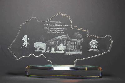 Commemorative trophy presented to the Melbourne Cricket Club by Singapore Cricket Club, 2016