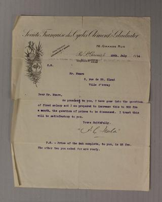 Salary offer letter addressed to Iddo 'Snowy' Munro, 1914