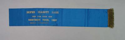 Port Pirie Cycle Club Northern Tour Super Elliott Sash 1937, won by Keith Thurgood