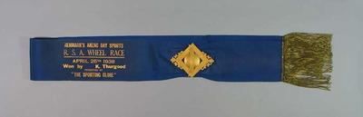 Sash for RSA Wheel Race 1938, won by Keith Thurgood