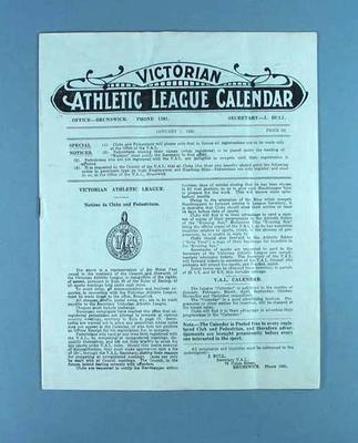 Victorian Athletic League Calendar, 1 Jan 1925