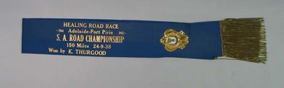 Sash for SA Road Championship 1938, won by Keith Thurgood