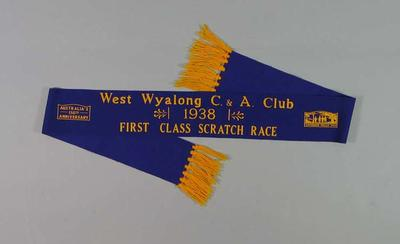 Sash for WWCAC First Class Scratch Race 1938, won by Keith Thurgood