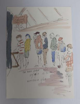 'The Beer Queue', Ink and watercolour illustration of the MCG crowd, Boxing Day Test, by Raymond Jones, 2013