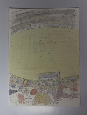 Ink and watercolour illustration of the MCG crowd, Boxing Day Test, by Raymond Jones, 2013