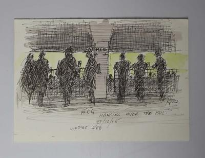 'Hanging Over The Rail', Ink and watercolour illustration of the MCG crowd, Boxing Day Test, by Raymond Jones, 2015