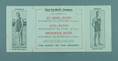 Card promoting swimmining contest between Frank Beaurepaire and Norman Ross, 31 January and 4 & 7 February 1920