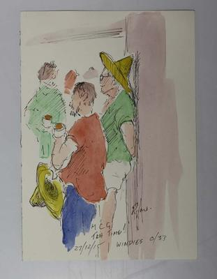 Ink and watercolour illustration of the MCG crowd, Boxing Day Test, by Raymond Jones, 2015