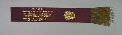 Sash for WPCC State Championship 150 Mile Race 1939, won by Keith Thurgood