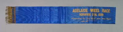 Sash for Adelaide Wheel Race 1939, won by Keith Thurgood