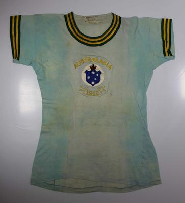 Rowing top worn by Harold Ross-Soden, men's eights, Stockholm Olympic Games, 1912