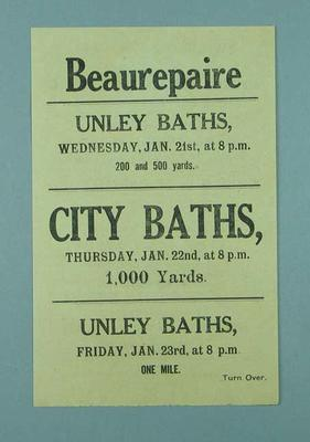 Flyer promoting Frank Beaurepaire's presence at South Australian swimming carnival, 21-23 January 1914