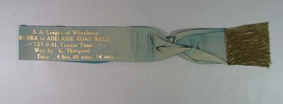 Sash for Burra-Adelaide Road Race 1941, won by Keith Thurgood