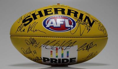 Unused autographed football used during promotion of 'Pride Game' between St Kilda Football Club and Sydney Football Club, 2016