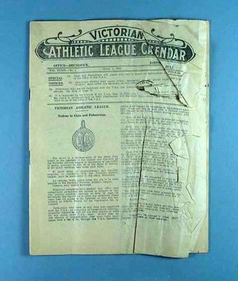 Victorian Athletic League Calendar, 1 March 1923
